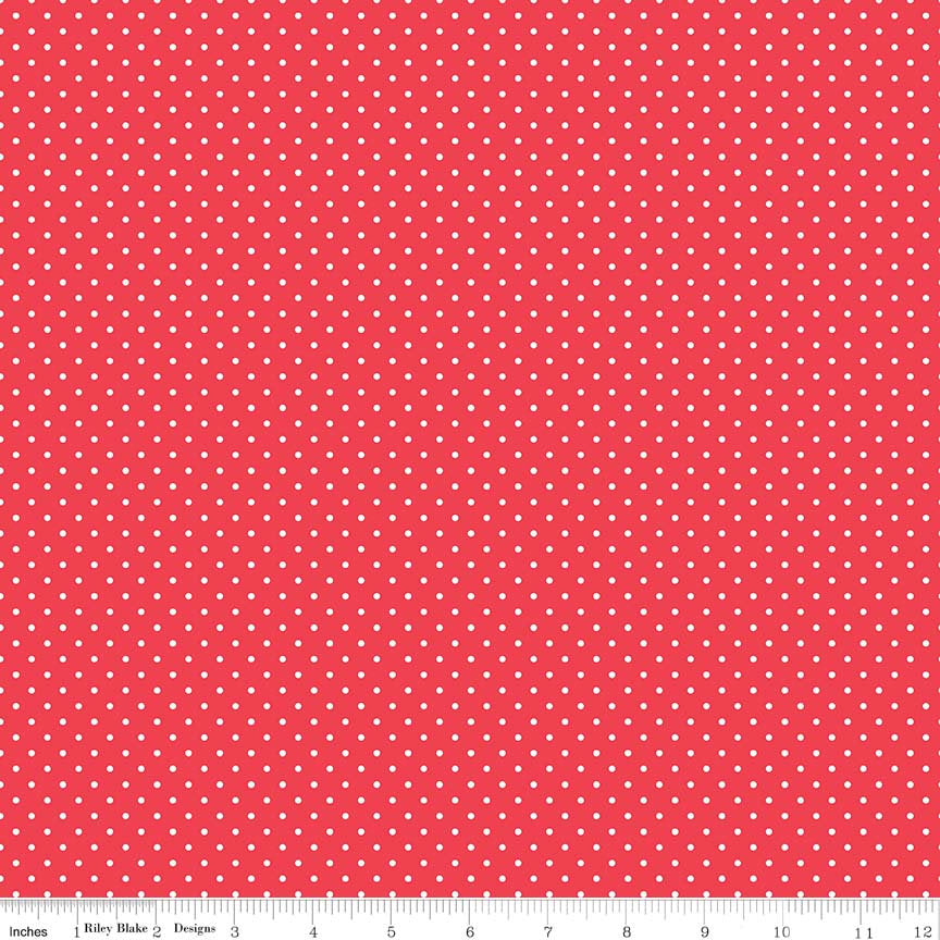 White on Cayenne Red Swiss Dots - Riley Blake Designs - Polka Dot - Quilting Cotton Fabric - choose your cut