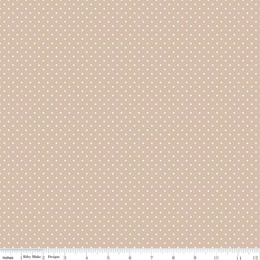 SALE White on Beach Swiss Dots - Riley Blake Designs - Light Brown Tan Polka Dot - Quilting Cotton Fabric