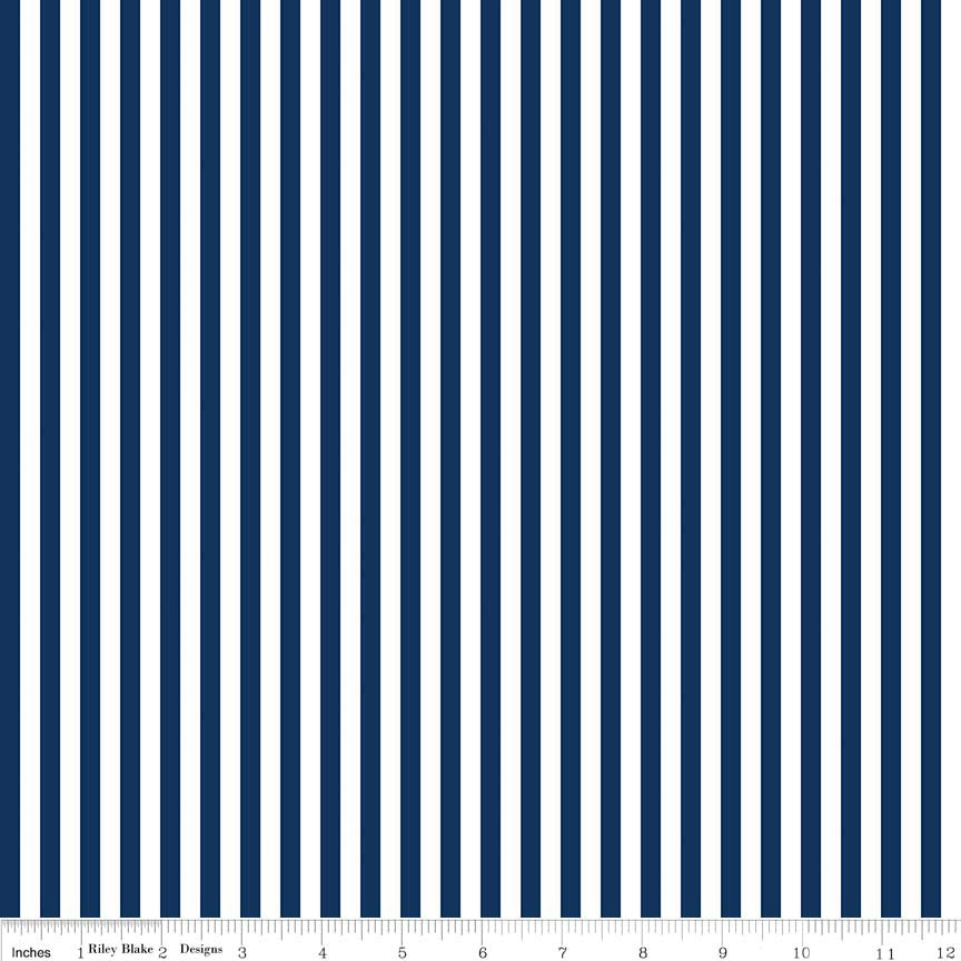 SALE Navy Blue and White 1/4 Quarter Inch Stripe - Riley Blake Designs - Quilting Cotton Fabric