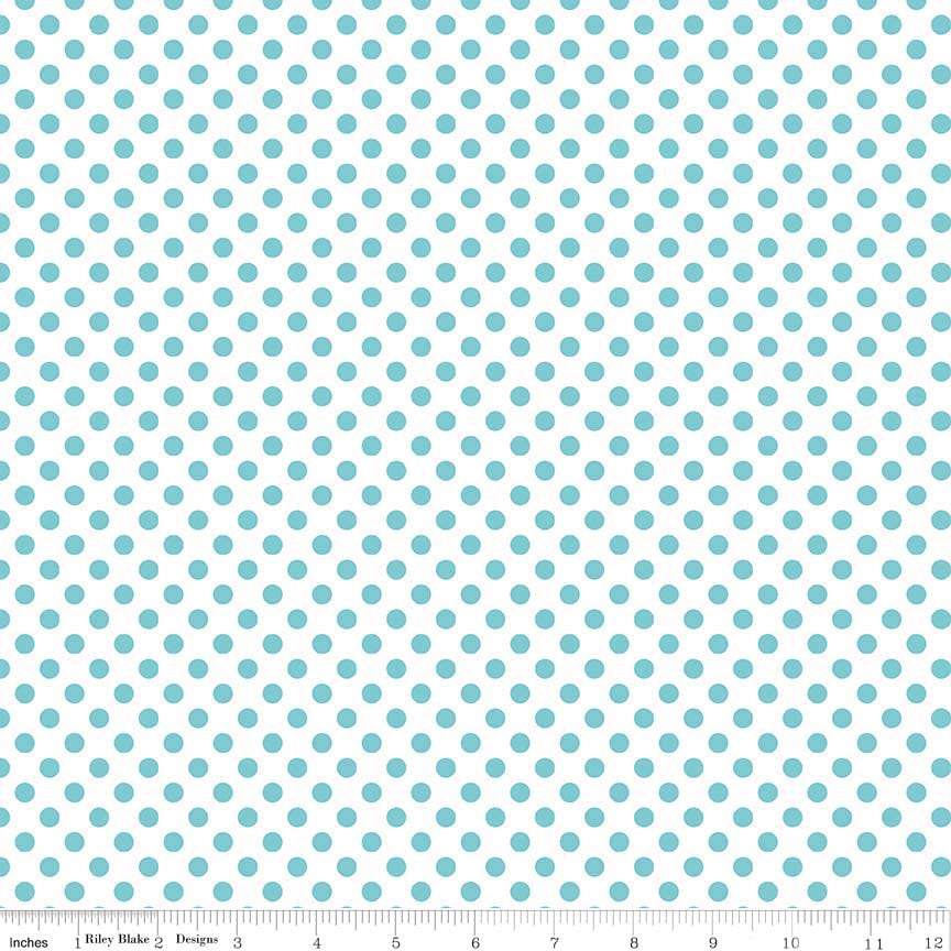 "Aqua Small Dots on White - Riley Blake Designs - 1/4"" Quarter Inch - Quilting Cotton Fabric - choose your cut"