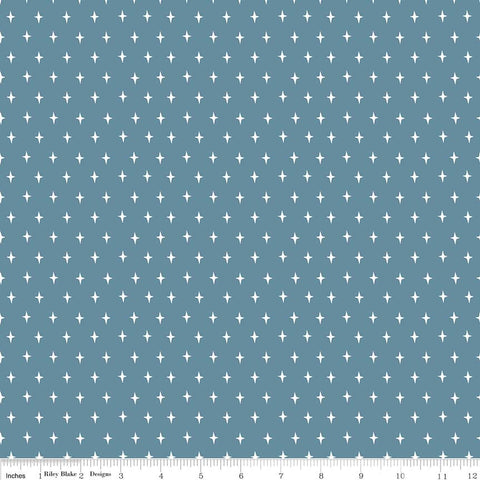 SALE Lancelot Stars Dark Blue - Riley Blake Designs - Citrus and Mint - Quilting Cotton Fabric - choose your cut