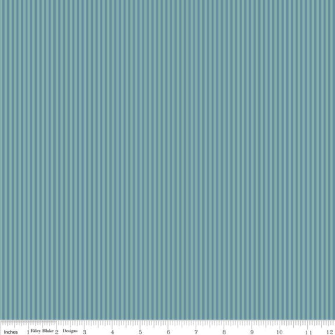 SALE Lancelot Stripe Teal - Riley Blake Designs - Green Blue - Quilting Cotton Fabric - choose your cut