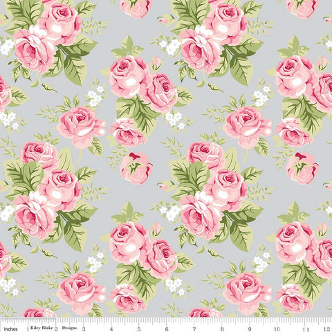 Love Story Main Gray - Riley Blake Designs - Pink Floral Flowers - Quilting Cotton Fabric - choose your cut