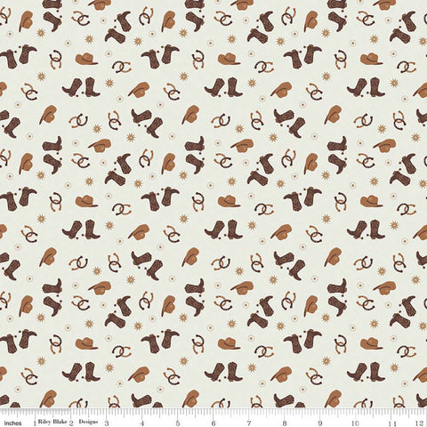 Boots and Spurs Toss Cream - Riley Blake Designs - Brown Western Boots Hats - Quilting Cotton Fabric - choose your cut