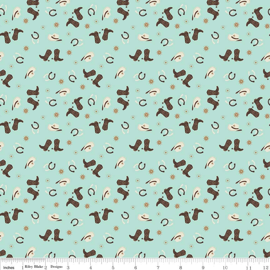 Boots and Spurs Toss Mint - Riley Blake Designs - Green Brown Western Boots Hats - Quilting Cotton Fabric - choose your cut