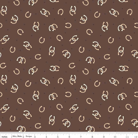 Boots and Spurs Horseshoe Brown - Riley Blake Designs - Cream Western Horseshoes - Quilting Cotton Fabric - choose your cut