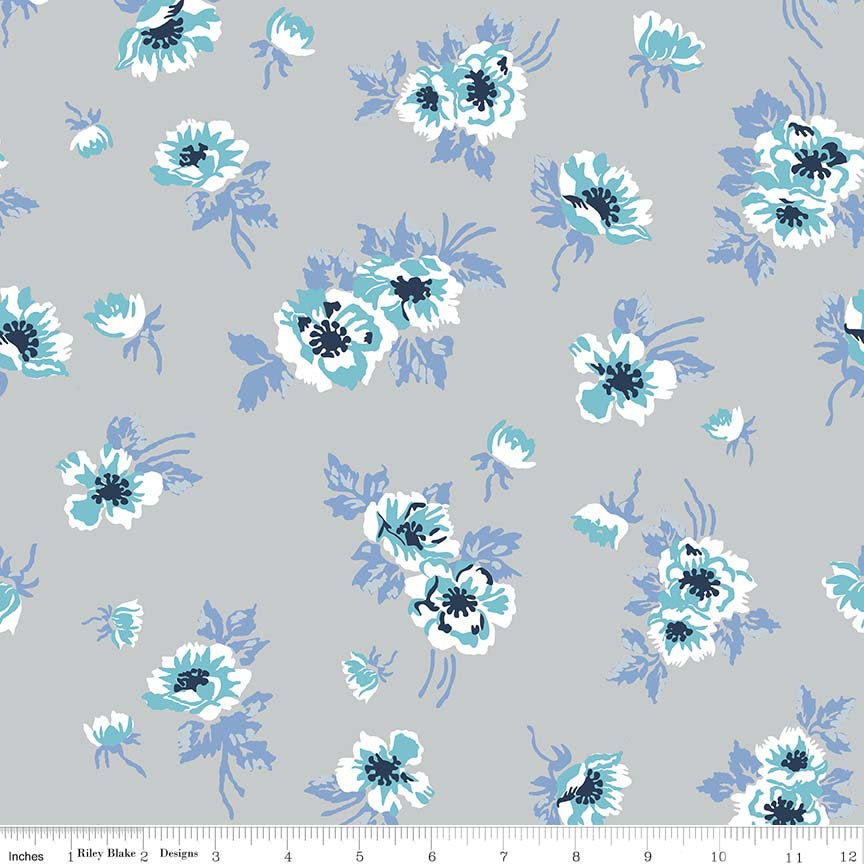 826e42d51ec ... lycra spandex stretch fabric - choose your cut. SALE Derby Day Main  Gray by Riley Blake Designs - floral flowers - Jersey KNIT cotton
