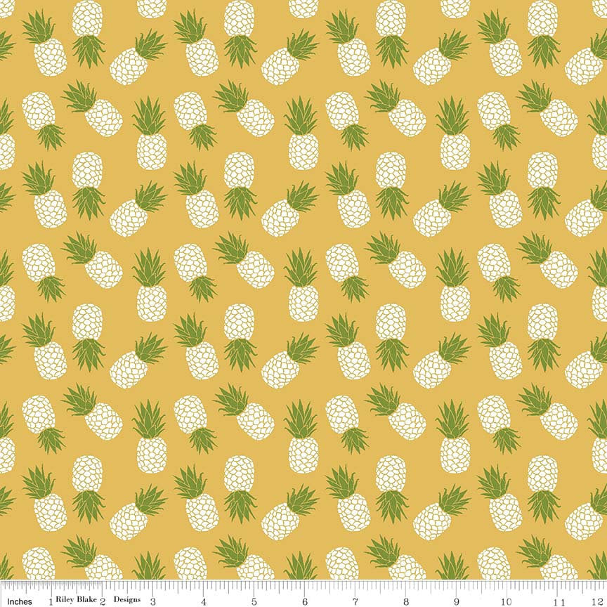 Club Havana Pineapple Yellow by Riley Blake Designs - Fruit - Jersey KNIT cotton lycra spandex stretch fabric - end of bolt pieces