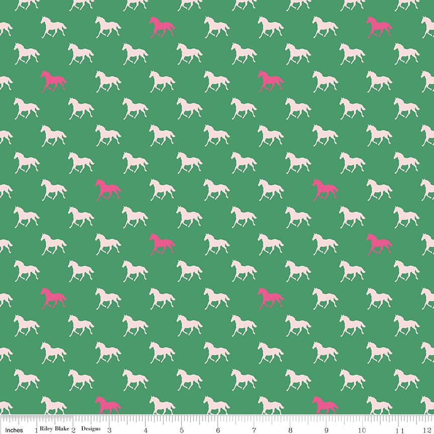 Derby Day Horses Green by Riley Blake Designs - Jersey KNIT cotton lycra spandex stretch fabric