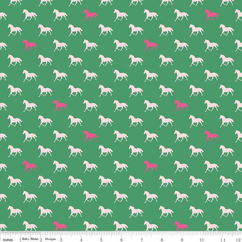 SALE Derby Day Horses Green by Riley Blake Designs - Jersey KNIT cotton lycra spandex stretch fabric - choose your cut