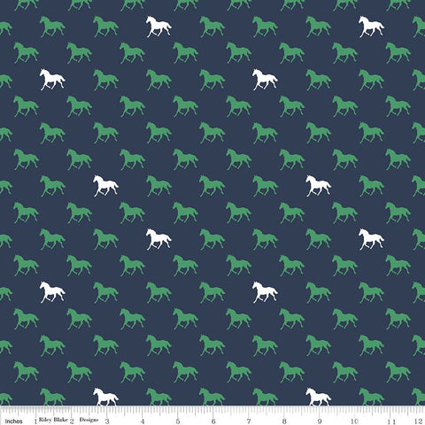SALE Derby Day Horses Navy by Riley Blake Designs - Jersey KNIT cotton lycra spandex stretch fabric - choose your cut