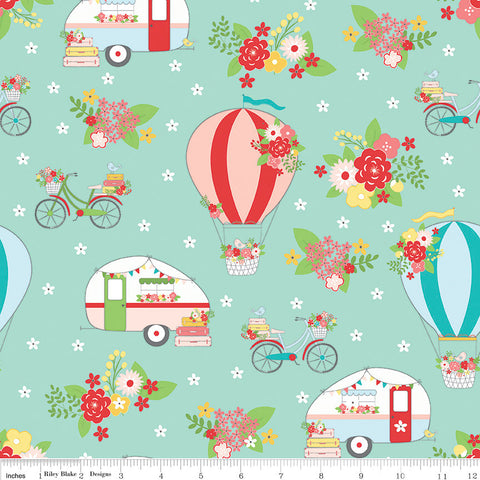 Vintage Adventure Main Aqua - Riley Blake Designs - Blue Green Camping Outdoors -  Quilting Cotton Fabric - choose your cut