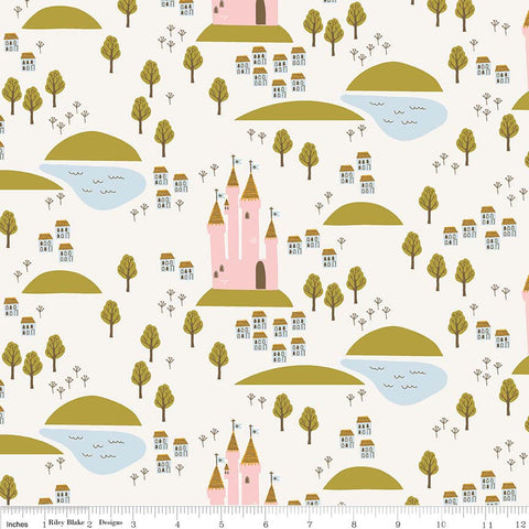 "Guinevere Castle Cream - Riley Blake Designs - Citrus and Mint - Off White Princess - Quilting Cotton Fabric - 30"" end of bolt"