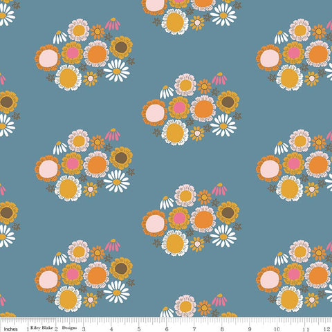 CLEARANCE Guinevere Flowers Dark Blue - Riley Blake Designs - Floral - Quilting Cotton Fabric - by the yard