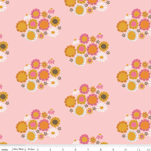 CLEARANCE Guinevere Flowers Pink - Riley Blake Designs - Citrus and Mint - Floral - Quilting Cotton Fabric - by the yard