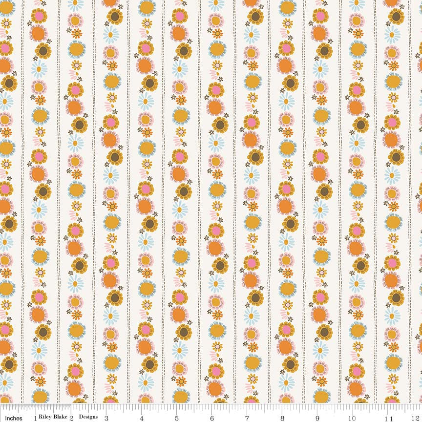 SALE Guinevere Daisy Chain Cream - Riley Blake Designs - Floral Flowers - Citrus and Mint - Quilting Cotton Fabric