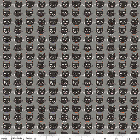 Cats Bats and Jacks Cats Gray Glow In the Dark - Riley Blake Designs - Halloween Black - Quilting Cotton Fabric - choose your cut