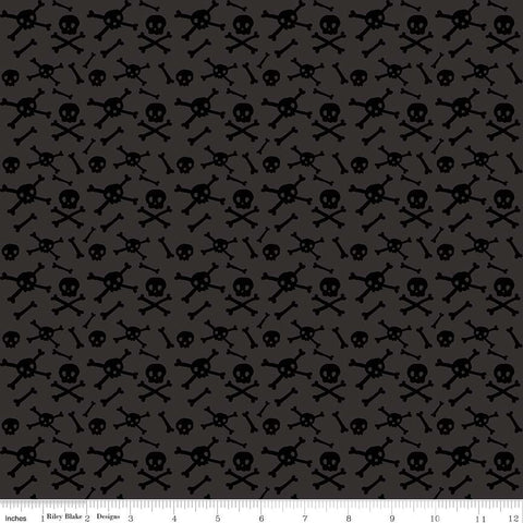 SALE Cats Bats and Jacks Skulls Charcoal - Riley Blake Designs - Halloween Black Tone on Tone - Quilting Cotton Fabric - choose your cut