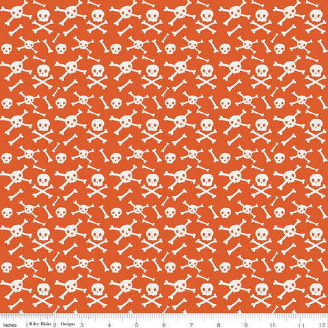 SALE Cats Bats and Jacks Skulls Orange - Riley Blake Designs - Halloween Cream Bones Crossbones - Quilting Cotton Fabric - choose your cut
