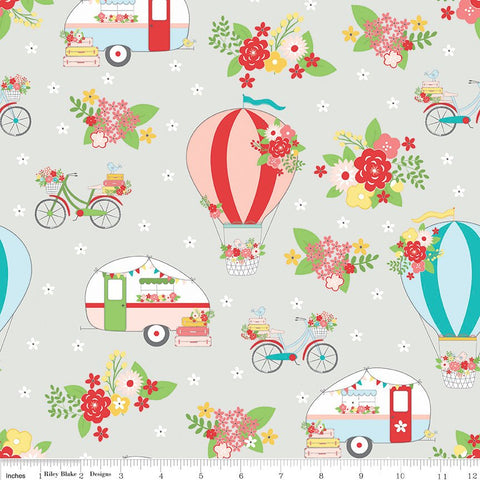 Vintage Adventure Main Gray - Riley Blake Designs - Camping Outdoors -  Quilting Cotton Fabric - choose your cut