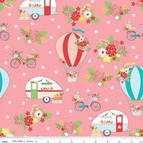 SALE Vintage Adventure Main Pink - Riley Blake Designs - Camping Outdoors -  Quilting Cotton Fabric - choose your cut