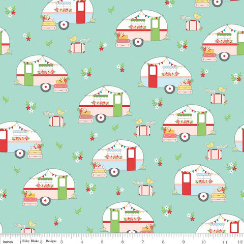 Vintage Adventure Camper Aqua - Riley Blake Designs - Blue Green Camping Trailer Outdoors -  Quilting Cotton Fabric - choose your cut