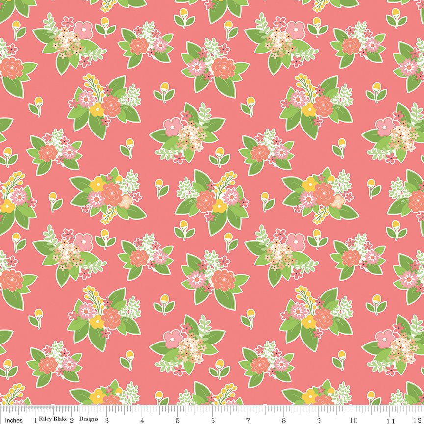 SALE Vintage Adventure Floral Pink - Riley Blake Designs - Flowers Camping Outdoors -  Quilting Cotton Fabric
