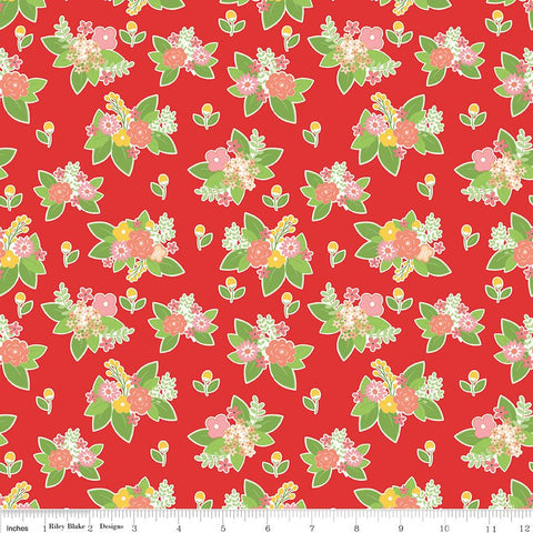 SALE Vintage Adventure Floral Red - Riley Blake Designs - Flowers Camping Outdoors -  Quilting Cotton Fabric
