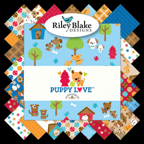 SALE Puppy Love Fat Quarter Bundle 18 pieces - Riley Blake Designs - Pre Cut Precut - Dogs - Quilting Cotton Fabric