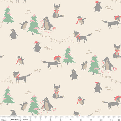 SALE Winter Tales Main Cream - Riley Blake Designs - Christmas Foxes Penguins Trees - Quilting Cotton Fabric - choose your cut