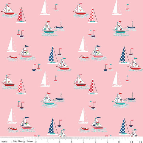SALE Seaside Boats Pink - Riley Blake Designs - Sailing Boats  -  Quilting Cotton Fabric - choose your cut
