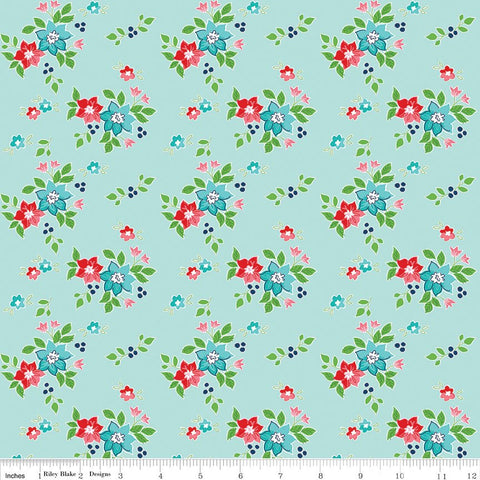 SALE Seaside Floral Aqua - Riley Blake Designs  - Blue Green Flowers - Quilting Cotton Fabric - choose your cut
