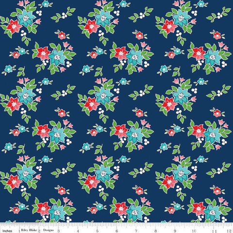 SALE Seaside Floral Navy - Riley Blake Designs  -  Quilting Cotton Fabric - choose your cut