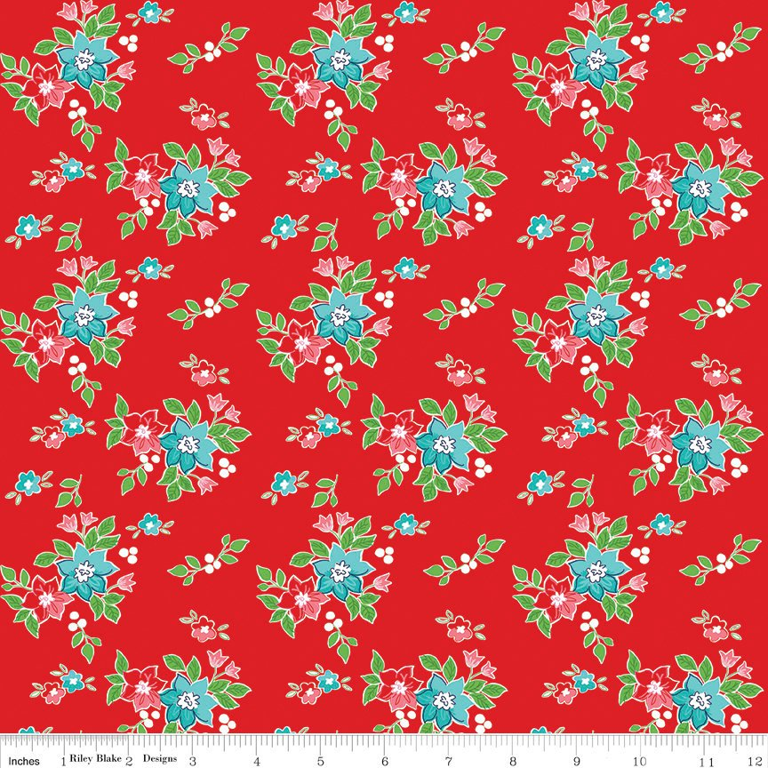 "SALE Seaside Floral Red - Riley Blake Designs  -  Flowers - Quilting Cotton Fabric - 1 yard 19"" end of bolt piece"