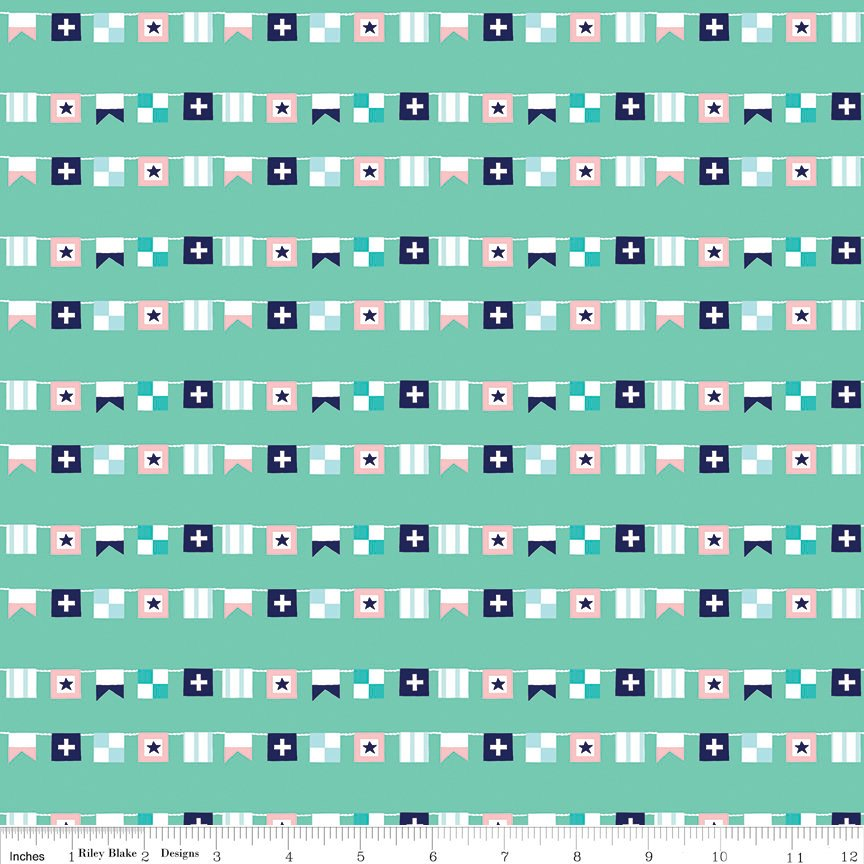 "SALE Seaside Flags Teal - Riley Blake Designs  - Blue Green - Quilting Cotton Fabric - 1 yard 14"" End of bolt piece"