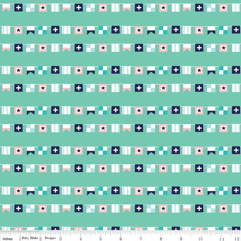 SALE Seaside Flags Teal - Riley Blake Designs  - Blue Green - Quilting Cotton Fabric - choose your cut