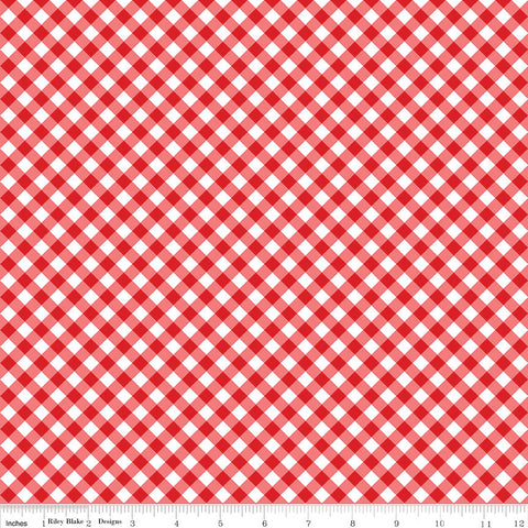 Seaside PRINTED Gingham Red - Riley Blake Designs  -  Red and White Checkers - Quilting Cotton Fabric - choose your cut