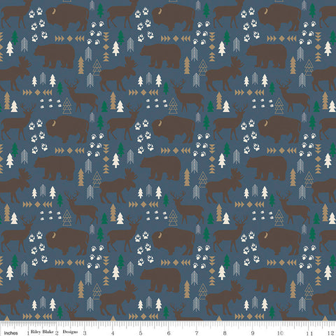 High Adventure 2 Main Blue - Riley Blake Designs - Moose and Bears - Quilting Cotton Fabric - fat quarter