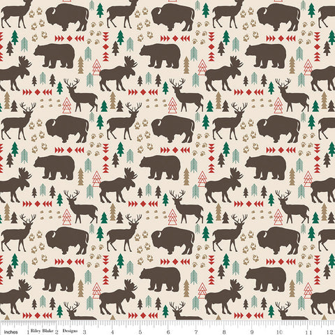 High Adventure 2 Main Cream - Riley Blake Designs - Moose and Bears - Quilting Cotton Fabric