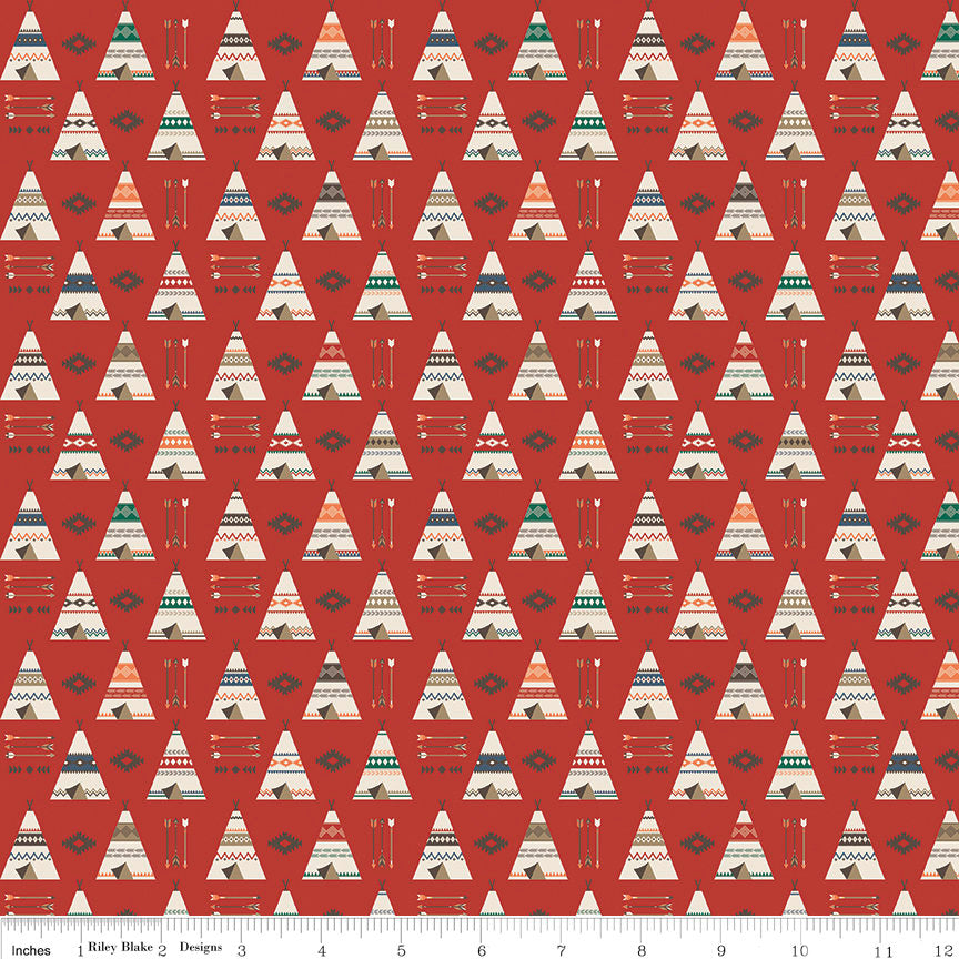 SALE High Adventure 2 Teepee Red - Riley Blake Designs - Quilting Cotton Fabric