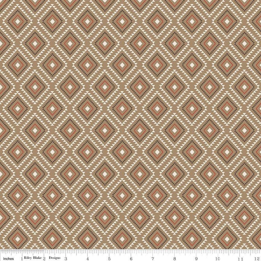 "High Adventure 2 Aztec Tan - Riley Blake Designs - Brown - Quilting Cotton Fabric - 1 yard 8"" end of bolt piece"