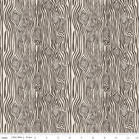 High Adventure 2 Woodgrain Cream - Riley Blake Designs - Brown - Quilting Cotton Fabric