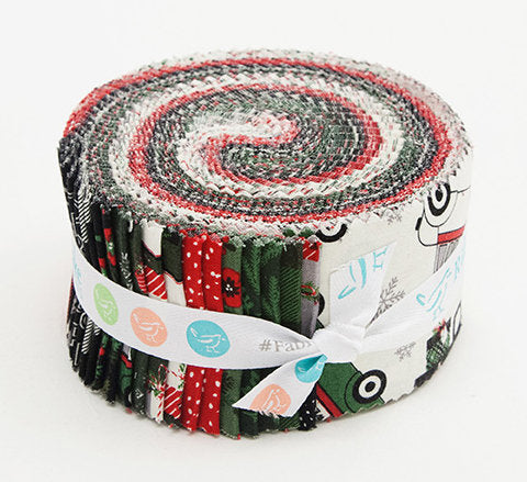 Christmas Delivery 2.5 Inch Rolie Polie Jelly Roll 40 pieces Riley Blake Designs - Precut Bundle - Quilting Cotton Fabric