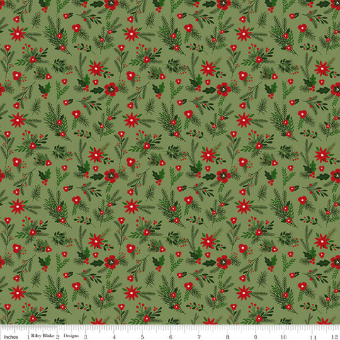 Christmas Delivery Floral Green - Riley Blake Designs - Quilting Cotton Fabric - choose your cut
