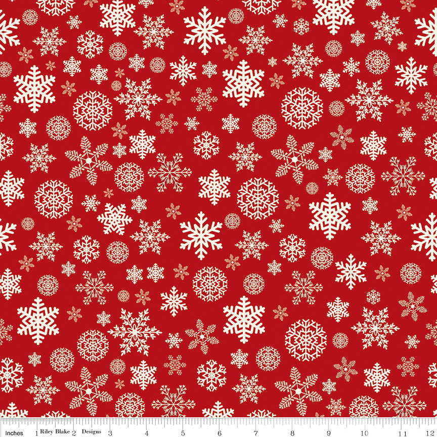 Christmas Delivery Snowflakes Red - Riley Blake Designs - Quilting Cotton Fabric - choose your cut