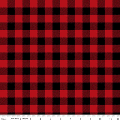 Christmas Delivery Plaid Red - Riley Blake Designs - Red and Black - Quilting Cotton Fabric - choose your cut