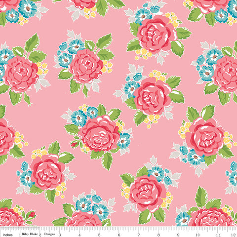 SALE Hello Lovely Main Pink - Riley Blake Designs - Floral Flowers - Quilting Cotton Fabric - choose your cut