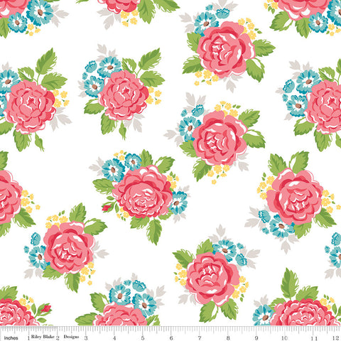 SALE Hello Lovely Main White - Riley Blake Designs - White Floral Flowers - Quilting Cotton Fabric - choose your cut