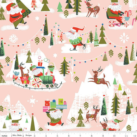 SALE Way Up North Main Peach - Riley Blake Designs - Pink Christmas - Quilting Cotton Fabric - choose your cut
