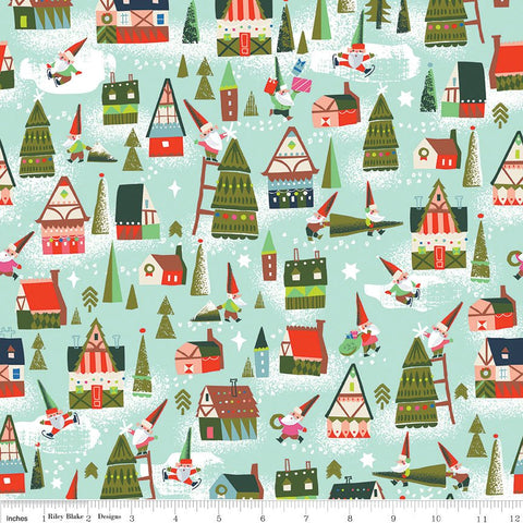 Way Up North Houses Mint - Riley Blake Designs - Green Christmas - Quilting Cotton Fabric